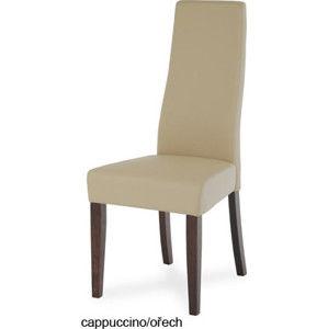 Autronic Jídelní židle BE21 WAL - Koženka cappuccino/ořech
