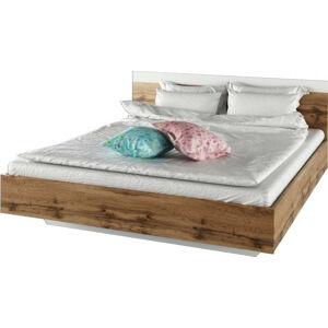 Tempo Kondela Manželská postel GABRIELA, 180x200, dub Wotan / bílá + kupón KONDELA10 na okamžitou slevu 3% (kupón uplatníte v košíku)