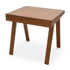 Hnědý stůl s nohami z jasanového dřeva EMKO,80x70cm