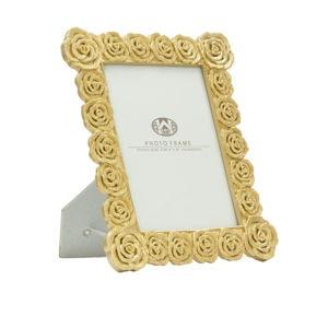 Stolní fotorámeček ve zlaté barvě Mauro Ferretti Roses, 15x20cm