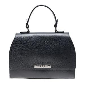 Černá kožená kabelka s popruhem Carla Ferreri