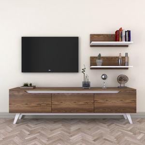 Set TV stolku a 2 nástěnných polic v dřevěném dekoru Wren