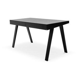 Černý psací stůl s nohami z jasanového dřeva EMKO,140x70cm