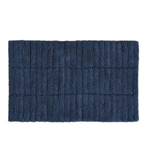 Tmavě modrá bavlněná koupelnová předložka Zone Tiles, 50 x 80 cm