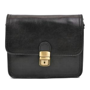 Kožená dámská kabelka přes rameno v černé barvě Carla Ferreri Serena