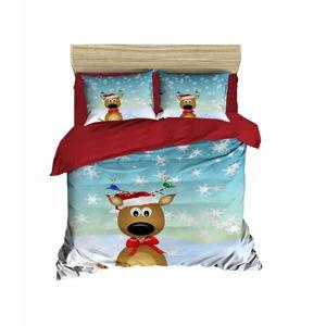 Vánoční povlečení na dvojlůžko s prostěradlem Michele, 160x220cm