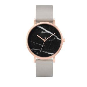 Dámské hodinky s šedým koženým řemínkem a mramorovým ciferníkem dekoru Cluse La Roche Rose