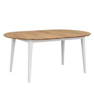 Oválný dubový rozkládací jídelní stůl s bílými nohami Rowico Mimi, délka až 210cm