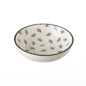 Šedo-bílá porcelánová miska Unimasa Mini Cactus,ø12,6cm