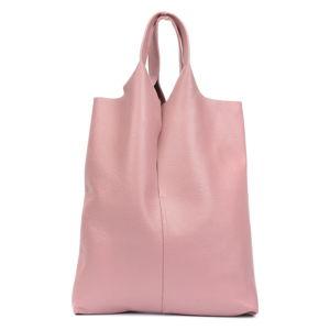 Světle růžová kožená taška na nákup Isabella Rhea