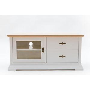 Bílá TV komoda s detaily z dubové dýhy, se sklěněnými dvířky a 2 zásuvkami We47 Family Katrin