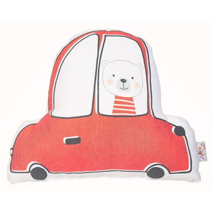 Červený dětský polštářek s příměsí bavlny Apolena Pillow Toy Car, 25 x 30 cm
