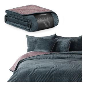 Růžovo-modrý oboustranný přehoz přes postel DecoKing Pascali, 170 x 210 cm