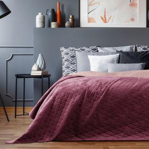 Růžový sametový přehoz přes postel AmeliaHome Laila Mauve, 220x240cm