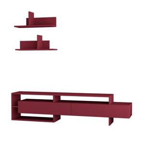 Set tmavě červeného TV stolku a 2 nástěnných poliček Homitis Gara