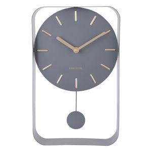 Šedé nástěnné hodiny s kyvadlem PT LIVING Charm, výška 32,5 cm