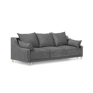 Světle šedá třímístná rozkládací pohovka s úložným prostorem Mazzini Sofas Pansy