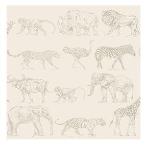 Krémová nástěnná tapeta Graham & Brown Safari, 0,52x10m