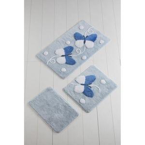 Sada 3 bílo-modrých koupelnových předložek Mari Blue