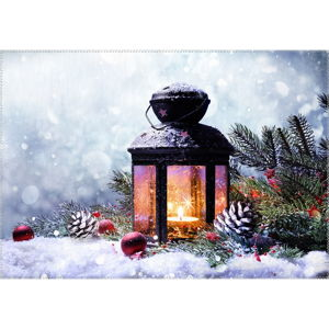 Koberec Vitaus Christmas Period Lantern With Snow, 50 x 80 cm