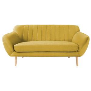 Žlutá dvoumístná pohovka se světlými nohami Mazzini Sofas Sardaigne