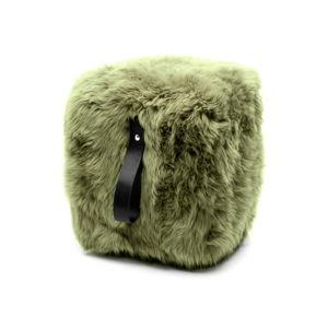 Olivově zelený hranatý puf z ovčí kožešiny s černým detailem Royal Dream, 45x45cm