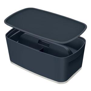 Šedý úložný box s víkem a organizérem Leitz Cosy, objem 5 l