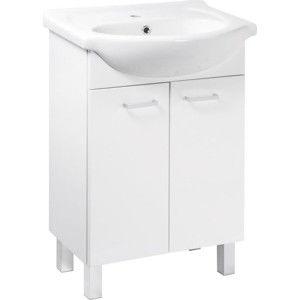Falco Koupelnová skříňka s umyvadlem Mea D50 2D0S bílý lesk