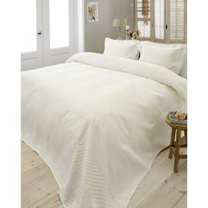 Krémově bílý přehoz z mikroperkálu se dvěma povlaky na polštář Sleeptime Charlene 250x260cm