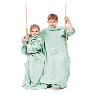 Zelená dětská televizní deka srukávy DecoKing Lazykids