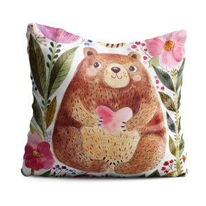 Dětský polštář OYO Kids Bear With Heart, 40 x 40 cm