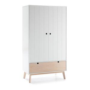 Bílá dětská šatní skříň s nohami z borovicového dřeva Marckeric Kiara
