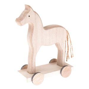 Dřevěná dekorace koníka na kolečkách Dakls, výška 16 cm