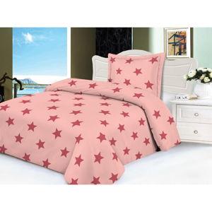 Růžové mikroplyšové povlečení My House Stars, 140 x 200 cm