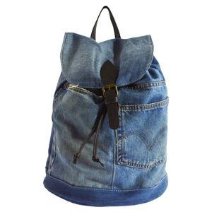 Modrý batoh z džínoviny a koženými popruhy Chicca Borse Light