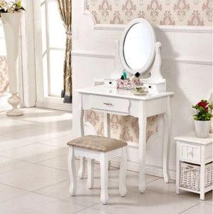 Tempo Kondela Toaletní stolek s taburetem LINET - bílá / stříbrná + kupón KONDELA10 na okamžitou slevu 10% (kupón uplatníte v košíku)