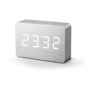 Světle šedý budík s bílým LED displejem Gingko Brick Click Clock