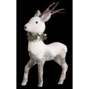 Bílá vánoční dekorace Unimasa Deer, výška45cm