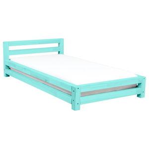 Tyrkysová jednolůžková postel z smrkového dřeva Benlemi Single,120x200cm