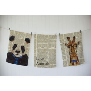 Sada 3 utěrek Really Nice Things Newspaper Animals