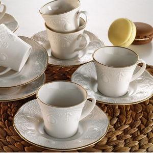 Sada 6 porcelánových šálků na čaj s podšálkem Kutahya Stitched