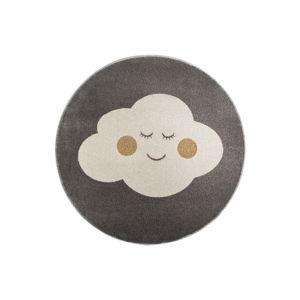 Šedý kulatý koberec s motivem mraku KICOTI Cloud, ø 100 cm