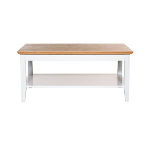 Bílý konferenční stolek s detaily z dubové dýhy We47 Family, 100x65cm