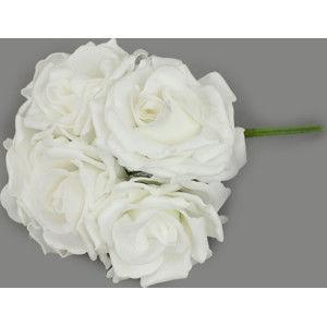 Autronic Umělé růže 6 ks - bílé PRZ2372