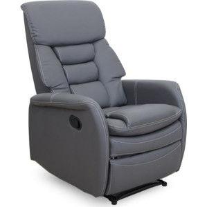 Tempo Kondela Relaxační křeslo KOMFY - šedá ekokůže + kupón KONDELA10 na okamžitou slevu 3% (kupón uplatníte v košíku)