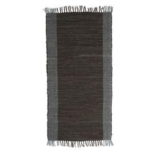 Černý kožený koberec Simla, 250x170cm