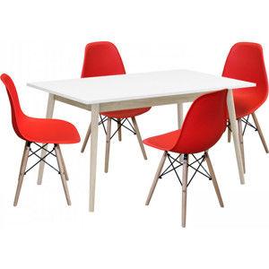 Idea Jídelní stůl NATURE + 4 židle UNO červené