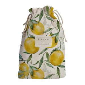 Cestovní vak s příměsí lnu Linen Couture Blue Lemons, délka 44 cm