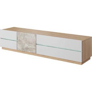 Tempo Kondela RTV stolek LAGUNA  - beton / dub jantar / bílý mat + kupón KONDELA10 na okamžitou slevu 3% (kupón uplatníte v košíku)