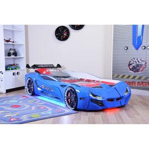 Modrá dětská postel ve tvaru auta s LED světly Fastero, 90 x 190 cm